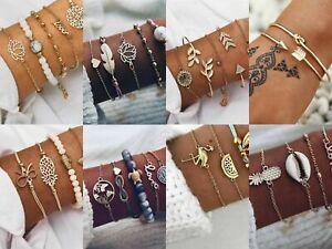 Boho Style Multilayer Crystal Bracelet Bangle Women Girls Wrist Jewellery Set