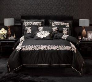 4pc Alex Perry Palazzo Black/Blush Queen Quilt Cover Set+Cushion BNIP RRP$349.95