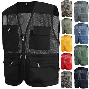 New Mens Sports Vest Multi Pockets Mesh Fishing Hunting Work Wear Vests W01 S-XL