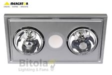 NEW MERCATOR MIDAS DUO LED BATHROOM HEATER, EXHAUST FAN AND LIGHT 3-in-1 SILVER