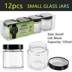 12x Small Food Grade Glass Jars 125ml Mini Spice Jam Storage Air Tight Container