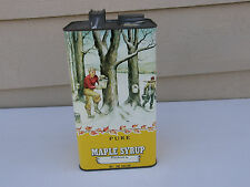 Vintage Pure Maple Syrup 1 Gallon Empty Tin Maple Farmers Horse Covered Bridge
