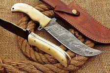 HUNTEX Custom Handmade Damascus 28 cm Long Full-Tang Camel Bone Trailing Knife