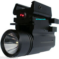 Tactical Cree Flashlight Red Laser Sight Picatinny Rail For Pistol Gun Glock #3