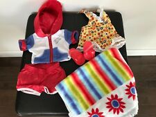 American Girl Doll Julie  Summer Outfit 2 in 1 Yellow Top Red Shorts, sandals