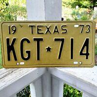 Vintage 1973 TEXAS License Plate auto passenger KGT 714 Very Nice