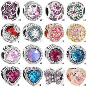 S925 Crystal Stone silver charm bead pendant For European Bracelets Bangle Chain