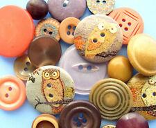 VTG Lot Theme Buttons FALL SPLENDOR Wood Casein Orange Purple Brown Fall Autumn