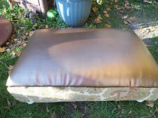 Vintage Upclycled Large Ottoman Foot Stool Table Bronze Brown Floral Green