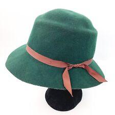 Vintage EFFANEM Crusher Hat Green 100% Wool Made in the USA Size Medium