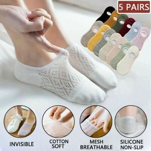 5 Pairs/Set Women Silicone non-slip invisible Socks Summer Solid Mesh Ankle Boat