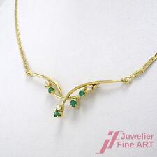 Collier 18K Gelbgold - 4 Smaragde ca. 0,12 ct + 3 Diamanten ca. 0,06 ct - 5,8 g