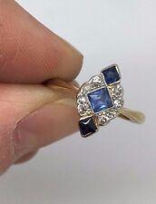 Beautiful & Rare Antique 18ct & Platinum Sapphire & Diamond Ring