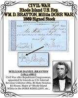 CIVIL WAR RI U.S. Rep. WM. D. BRAYTON, Militia DORR WAR, 1869 Signed Stock