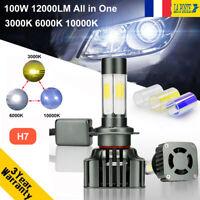 100W 12000LM H7 LED Ampoule Voiture COB Phare Feux Lampe Kit 3000K 6000K 10000K