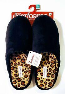 Deerfoams Women's Black & Loepard Print Slide Slippers XL 11-12  DF320