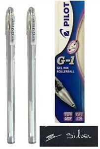 2 x Pilot G1 07 Gel Ink Rollerball Pen Fine Tip Silver Ink