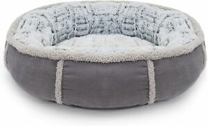 Rosewood plush dog bed Luxury grey faux suede and plush, diameter 20 inch 51 cm