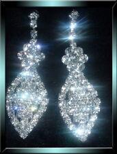 Clear Silver Tone Diamonte / Diamante Oval Long Drop Earrings - NEW!!! Bridal