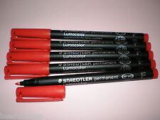 5x Staedtler Lápiz de papel Lumocolor Para Permanente 318-2 Rojo OHP PEN