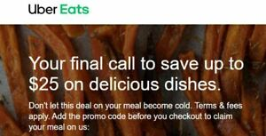 $25 OFF UBER EATS Promo Code EXP 10/28/21 new customers only