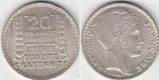 Monnaie Française 20 francs argent Turin 1933