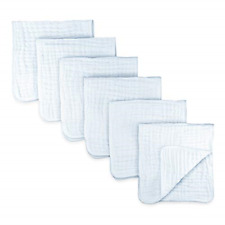6 Pk Muslin Burp Cloths Cotton Hand Washcloths Layers Absorbent and Soft White
