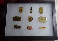 """9 Vintage Enamel Beer Pins Coors Miller Pearl in Riker 6"""" x 8 """" Display Case!"""