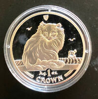 Isle of Man 1 Oz Silver Crown 1995 Turkish Cat Proof With Case - Pobjoy