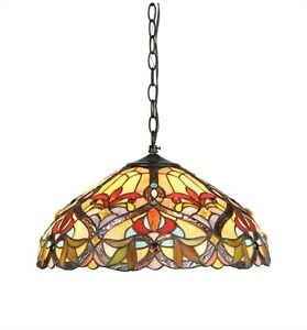 """Tiffany Style 2-Light Hanging Ceiling Pendant Red Amber Stained Glass 18"""" Dia."""