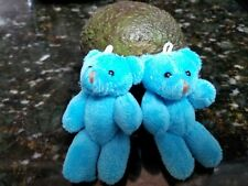 2 Tiny Blue Teddy Bears Approx 3 inches.Jointed.Stitched Nose/Mouth Bead Eyes