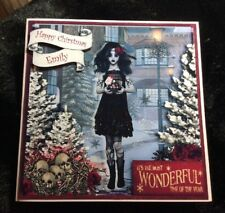 Personalised Handmade Christmas Card Little Goth Delivering Gift to Her Skulls