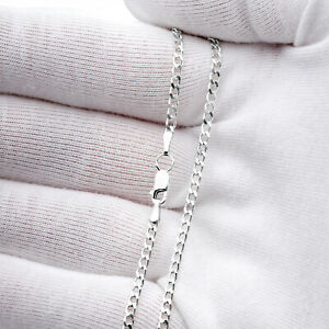 925 Sterling Silver Curb Necklace Chain in various lengths with a gift bag