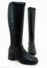 Kniehohe Stiefel aus Echtleder ohne Muster mit mittlerem Absatz (3-5 cm)