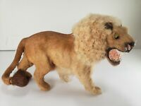 Antique Taxidermy Miniature Circus  Lion Figurine Toy Real Fur Glass Eyes