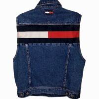 Rare Vintage Tommy Jeans Denim Trucker Vest Big Flag Men Medium Hilfiger 90's
