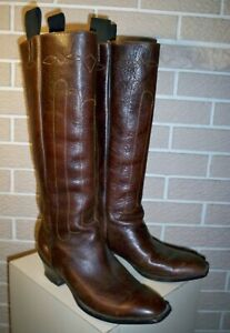 """Vintage 16"""" Tall  Fancy Brown Leather Western Riding Boots -   Size 9 D"""