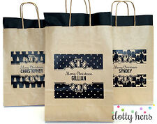PERSONALISED CHRISTMAS GIFT BAG - RUSTIC KRAFT XMAS PATTERN PARTY BAGS FAVOUR