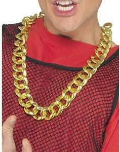 BLING GOLD CHAIN Gangster Necklace Hip Hop Rapper Fancy Dress Costume Accessory
