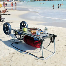 Beach Cart For Sand With Big Wheels Folding Table Towel Storage Cup Holder Wagon