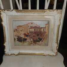 Vintage Oil Painting On Board Panel-VENICE CanaI-Signed Sergio Cirno Bissi