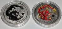 Australien 2 x 2 Oz Silber Lunar Drache II 2012 BU + Farbe