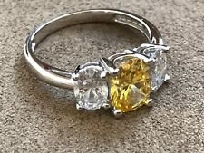 Sterling Silver 925 Cubic Zirconia and Citrine ring size 9