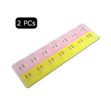 2 PCs 7 Day Compartment AM PM Pill Box Medicine Storage Organizer Container Case
