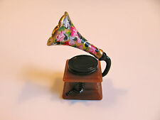 dollhouse doll house miniature FLORAL RECORD PLAYER GRAMOPHONE