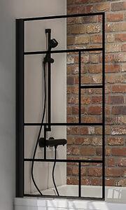 Schulte Black Style Atelier 1 Badewannenaufsatz Duschwand Wannenaufsatz 1400x800