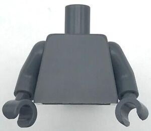 Lego New Dark Bluish Gray Torso Plain Dark Bluish Gray Arms Dark Bluish Gray