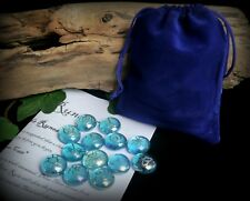 13 Witches Runes with Bag Blue and Silver Witch Wicca Pagan Divination Gift