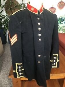 Royal Marines Vintage Army Dress Jacket Uniform Navy Blue, Red And Gold