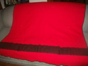 """Vtg Wool THICK Throw Blanket RED w.STRIPE 48""""x60"""" Camping/Cutter/Distressed"""